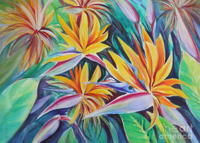 Birds Of Paradise Greeting Card featuring the painting Birds Of Paradise by Summer Celeste