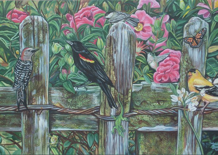 Birds Greeting Card featuring the painting Birds On A Fence by Diann Baggett