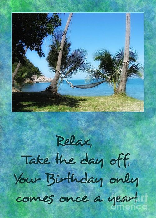 Jh Greeting Card featuring the digital art Birthday Hammock by JH Designs
