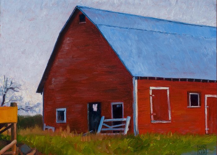 Farm Greeting Card featuring the painting Bishop Barn by Stacey Neumiller