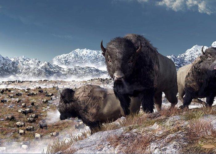 Bison Greeting Card featuring the digital art Bison Herd In Winter by Daniel Eskridge