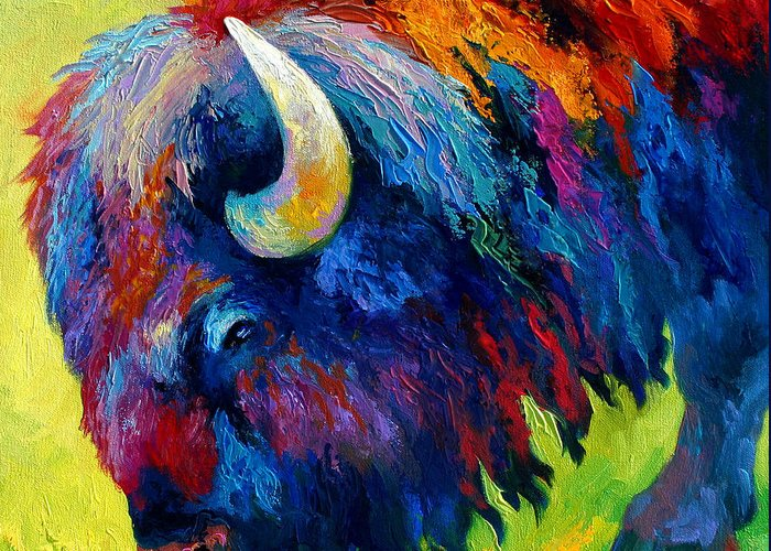 Wildlife Greeting Card featuring the painting Bison Portrait II by Marion Rose