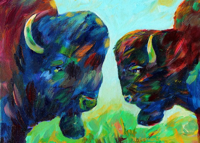 Two Bison In The Meadow Greeting Card featuring the painting Bison Wisdom by Naomi Gerrard