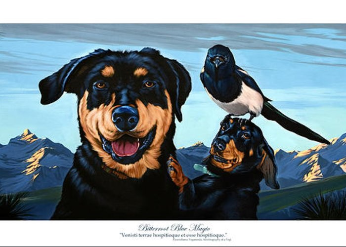 Dogs Greeting Card featuring the painting Bitterroot Blue Magic by Philip Slagter