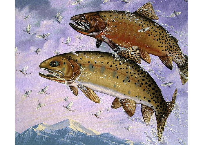 Cutthroat Trout Greeting Card featuring the painting Bitterroot Ephemera by Philip Slagter