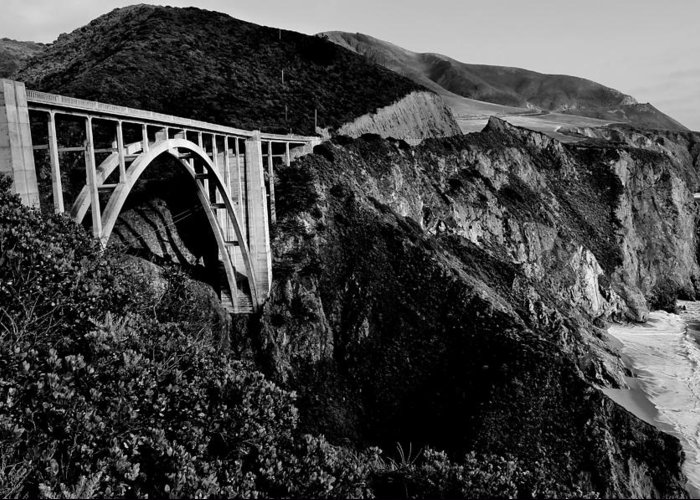 Bixby Creek Bridge Greeting Card featuring the photograph Bixby Black And White by Benjamin Yeager