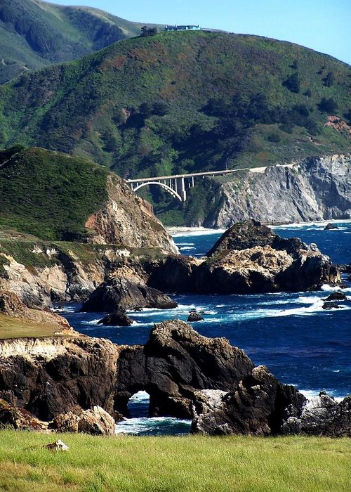 Ocean Greeting Card featuring the photograph Bixby Bridge by Christine Drake