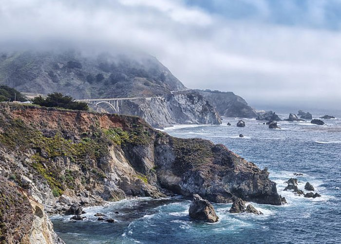 Bixby Bridge In Big Sur California Greeting Card featuring the photograph Bixby Bridge - Large Print by Anthony Citro