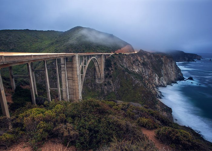 Bixby Bridge Greeting Card featuring the photograph Bixby Bridge by Malcolm MacGregor