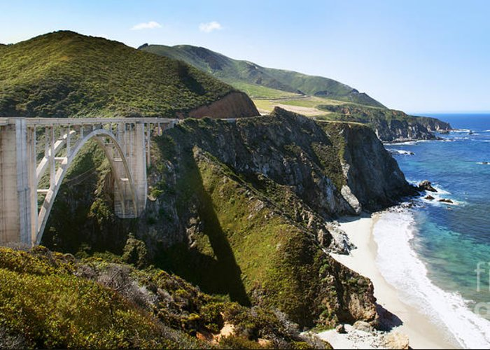 Bixby Bridge Greeting Card featuring the photograph Bixby Bridge Near Big Sur On Highway One In California by Artist and Photographer Laura Wrede