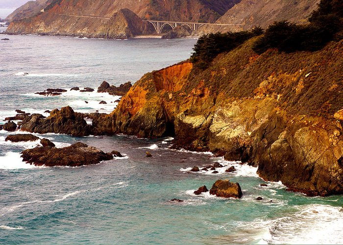 Barbara Snyder Greeting Card featuring the digital art Bixby Bridge Of Big Sur California by Barbara Snyder