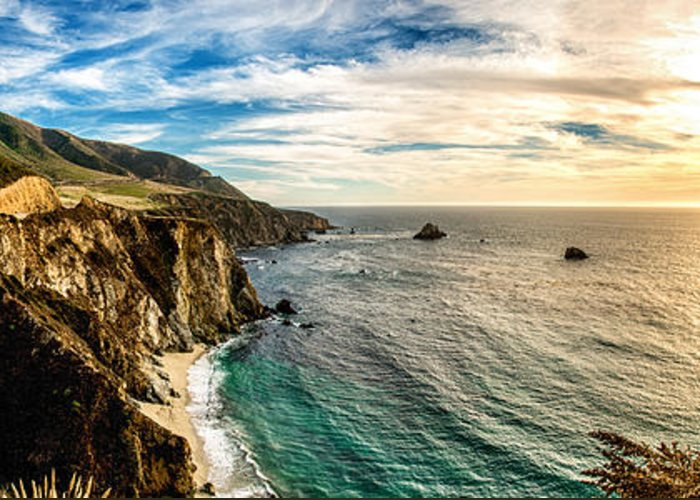 America Greeting Card featuring the photograph Bixby Bridge Panoramic by Josh Whalen