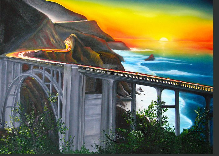 Beautiful California Sunset! Greeting Card featuring the painting Bixby Coastal Bridge Of California At Sunset by Portland Art Creations