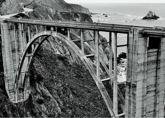 Bridge Greeting Card featuring the photograph Bixby Creek Bridge Black And White by Benjamin Yeager