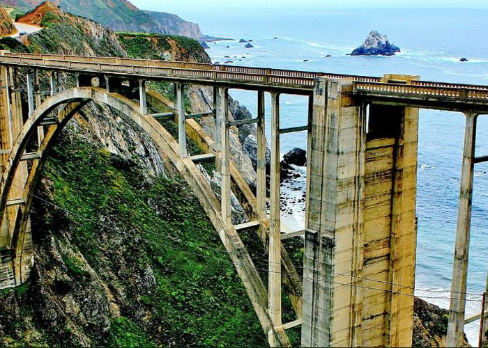Rocky Greeting Card featuring the photograph Bixby Creek Bridge Panorama by Benjamin Yeager