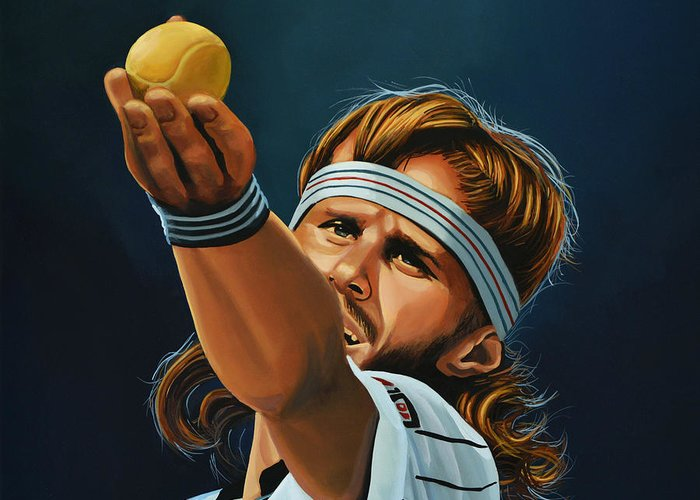 Bjorn Borg Greeting Card featuring the painting Bjorn Borg by Paul Meijering