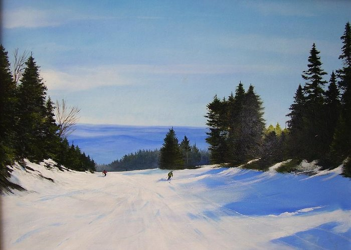 Ski Greeting Card featuring the painting Black And Blue by Ken Ahlering
