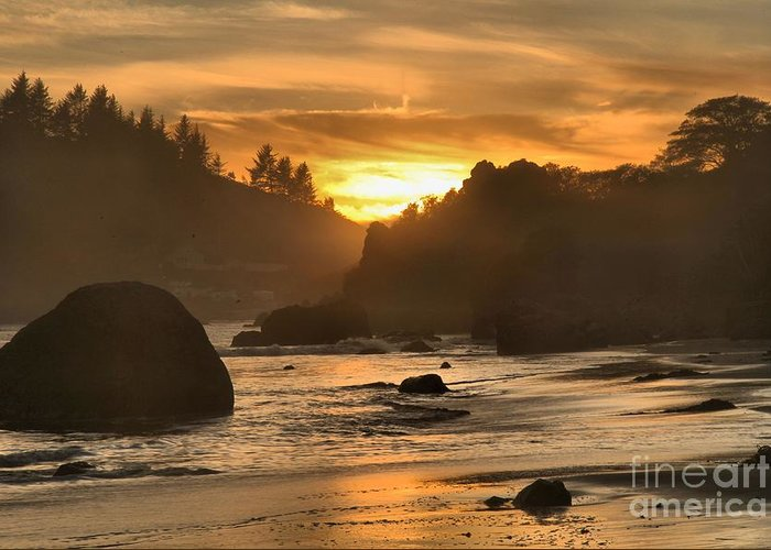 Trinidad State Beach Greeting Card featuring the photograph Black And Orange by Adam Jewell