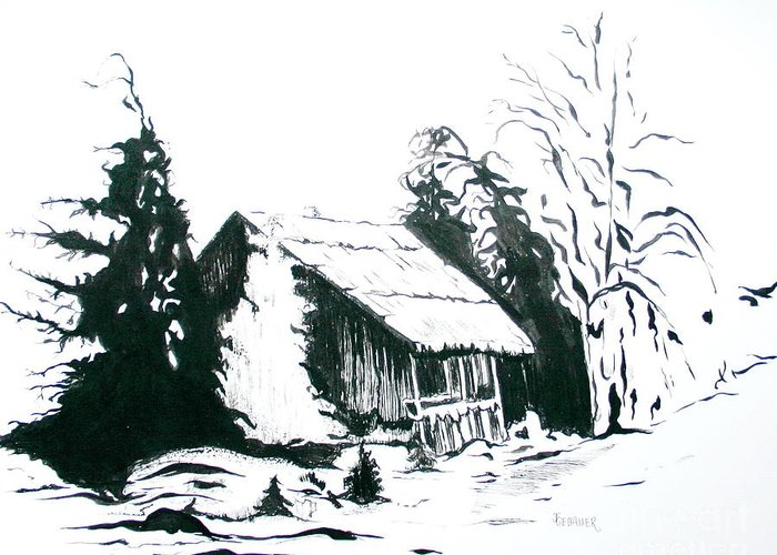 Barn Greeting Card featuring the drawing Black And White Barn In Snow by Joyce Gebauer