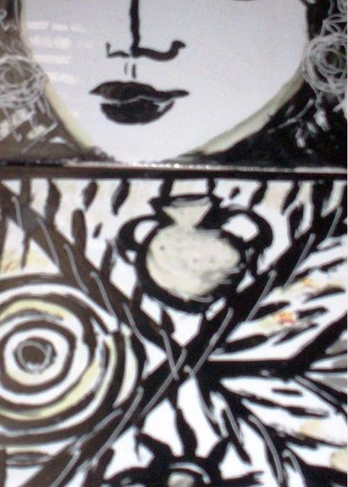 Tiles Greeting Card featuring the ceramic art Black And White by Catherine Walker