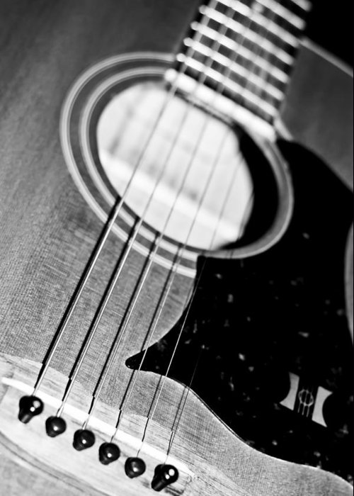 Guitars Greeting Card featuring the photograph Black And White Harmony Guitar by Athena Mckinzie