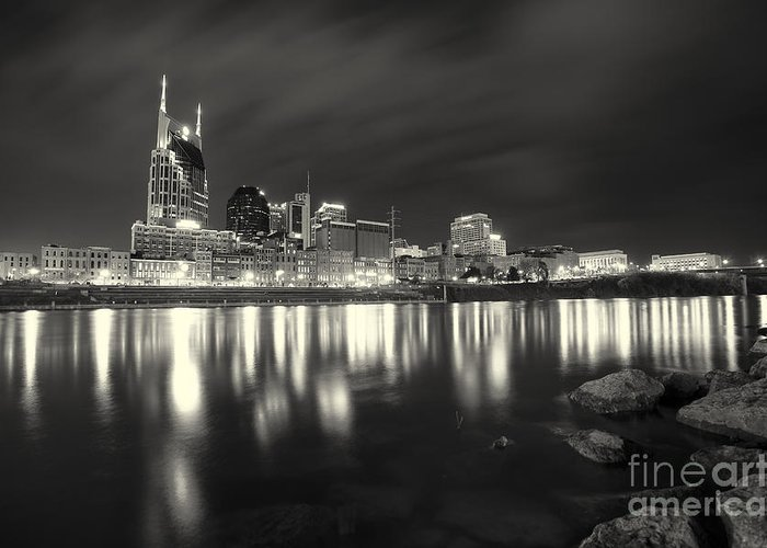 Nashville Greeting Card featuring the photograph Black And White Image Of Nashville Tn Skyline by Jeremy Holmes