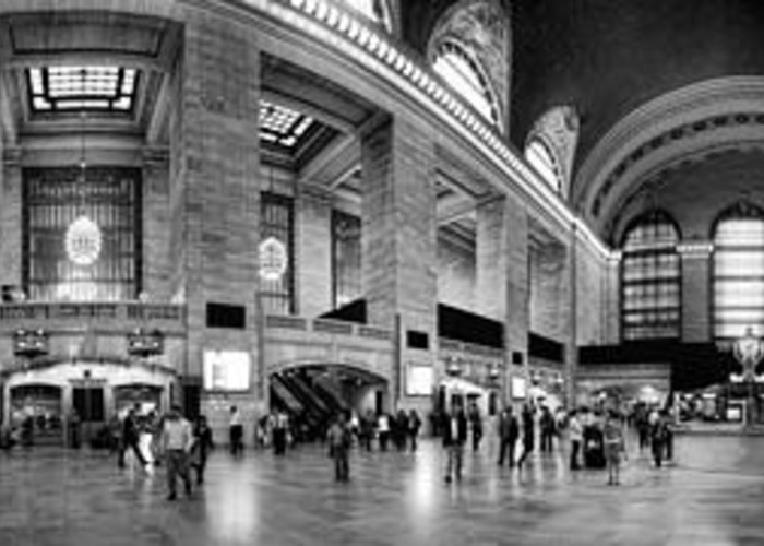 Panoramic Greeting Card featuring the photograph Black And White Pano Of Grand Central Station - Nyc by David Smith