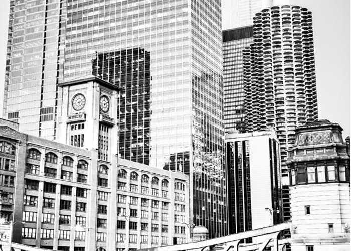 America Greeting Card featuring the photograph Black And White Picture Of Chicago At Lasalle Bridge by Paul Velgos