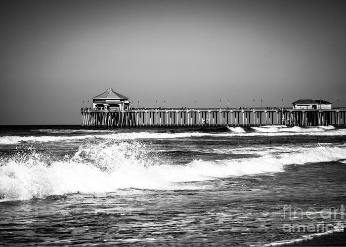 America Greeting Card featuring the photograph Black And White Picture Of Huntington Beach Pier by Paul Velgos