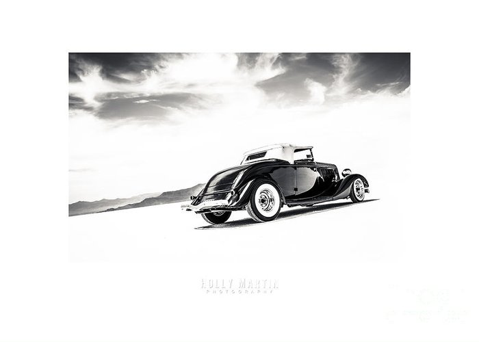 Antique Automobile Greeting Card featuring the photograph Black And White Salt Metal by Holly Martin