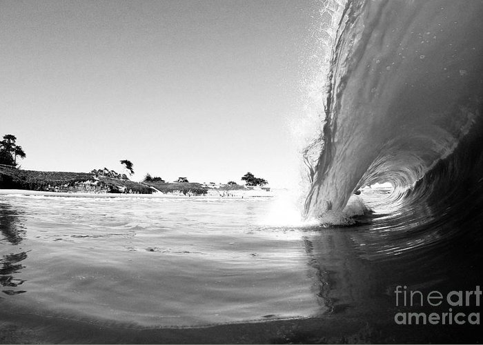 Wave Greeting Card featuring the photograph Black And White Santa Cruz Wave by Paul Topp