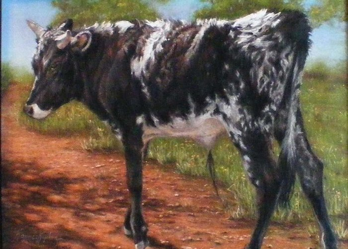 Animals Greeting Card featuring the pastel Black And White Shorthorn Steer by Denise Horne-Kaplan