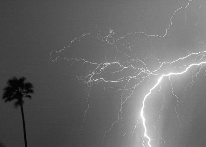 Lightning Greeting Card featuring the photograph Black And White Tropical Thunderstorm Night by James BO Insogna