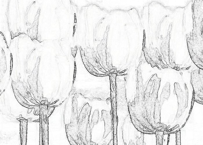 Black And White Greeting Card featuring the digital art Black And White Tulips by Lisa Purcell
