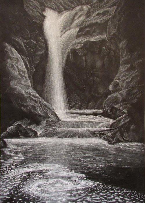 Waterfall Greeting Card featuring the drawing Black And White Waterfall by Svetlana Rudakovskaya