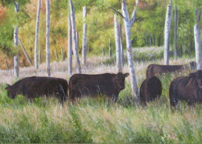 Black Angus Greeting Card featuring the painting Black Angus Grazing by Tammy Taylor