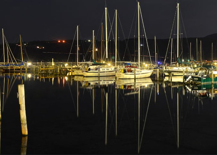 Harbor Greeting Card featuring the photograph Black As Night by Frozen in Time Fine Art Photography