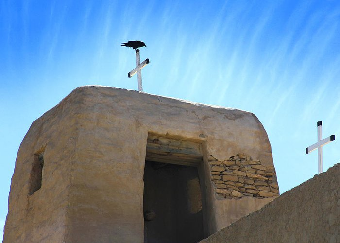 Acoma Pueblo Greeting Card featuring the photograph Black Bird On Duty by Mike McGlothlen