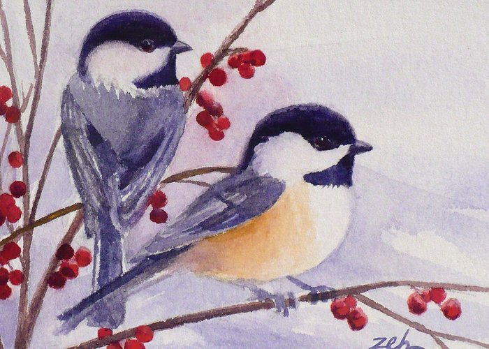Birds Greeting Card featuring the painting Black-capped Chickadees by Janet Zeh