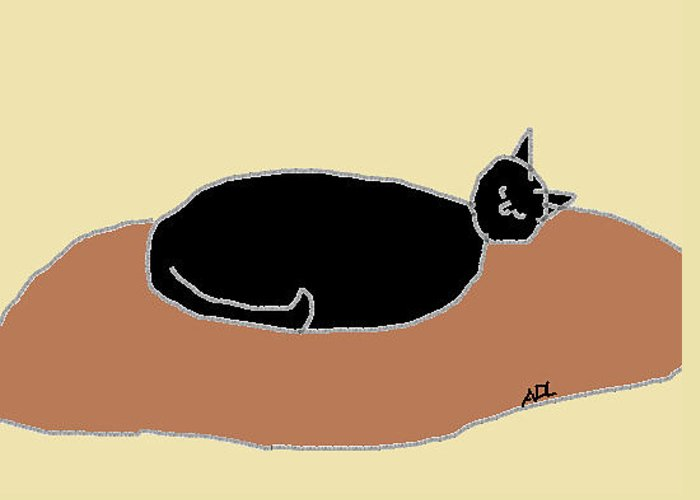 Cat Greeting Card featuring the drawing Black Cat On A Rug by Anita Dale Livaditis