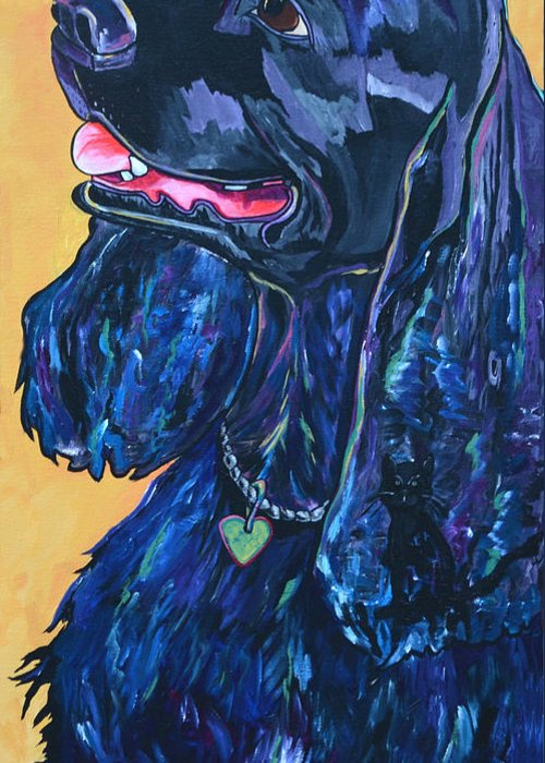 Dog Greeting Card featuring the painting Black Cocker Spaniel by Patti Schermerhorn
