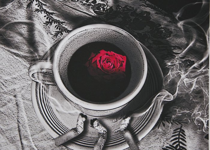 Surrealism Greeting Card featuring the photograph Black Coffee And Roses by Larry Butterworth