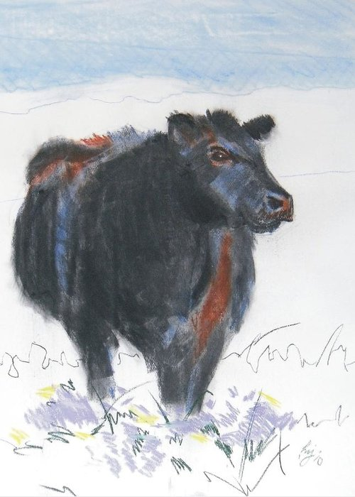 Mike Jory Cow Greeting Card featuring the painting Black Cow Drawing by Mike Jory