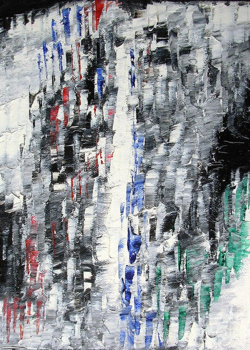 Abstract Painting Paintings Greeting Card featuring the painting Black Crystal Cave - Black White Abstract By Chakramoon by Belinda Capol