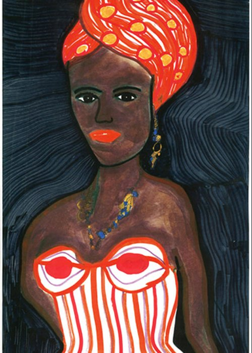 African Art Greeting Card featuring the drawing Black Diva by Don Koester