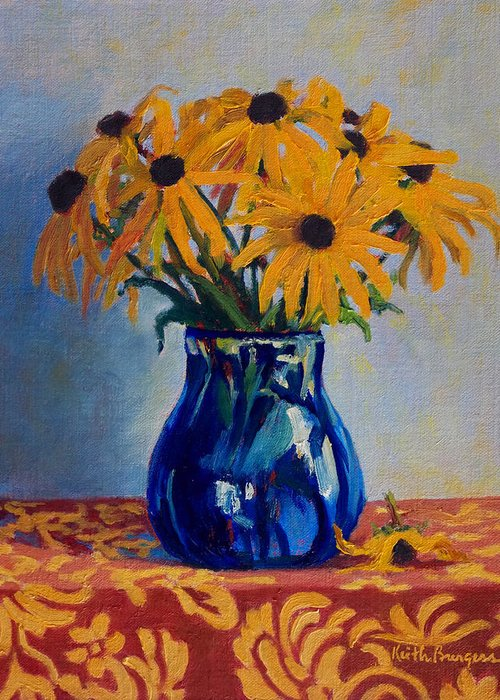 Impressionism Greeting Card featuring the painting Black Eyed Susans by Keith Burgess