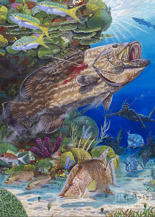 Spearfishing Greeting Card featuring the painting Black Grouper Hole by Carey Chen