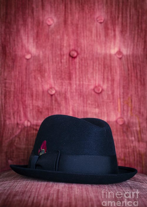 Studio Greeting Card featuring the photograph Black Hat On Red Velvet Chair by Edward Fielding