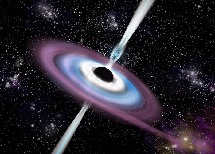 Astronomy; Accretion Disk; Bright; Black Hole; Color Image; Cosmicvue; Cosmos; Deep Space; Digital Image; Dust; Energy; Event Horizon; Extraterrestrial; Fantasy; Futuristic; Galaxies; Galaxy; Gamma Ray; Gas; Glow; Glowing; Horizontal; Illustration; Intense; Jets; Light; Light Effect; Luminous; Marc Ward; Milky Way; Nebula; Night; Outer Space; Poster; Purple; Quasar; Rotating; Science Fiction; Shining; Stars; Starfield; Singularity; Space; Space Art; Sphere; Universe; Vista; White; X-ray; Yellow Greeting Card featuring the digital art Black Hole 1a by Marc Ward