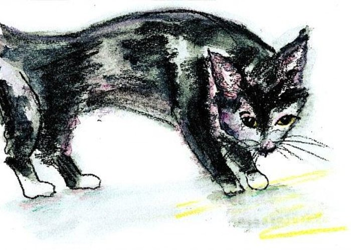 Animal Greeting Card featuring the painting Black Kitty by Lena Rydstrom